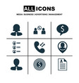 set of 9 hr icons includes business deal vector image vector image