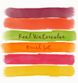 set of real watercolor brush with warm colors vector image vector image