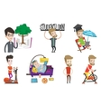 set of student and sport characters vector image