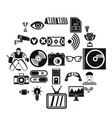 sport show icons set simple style vector image vector image