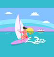 summer background sun and windsurfing woman vector image