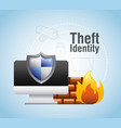 theft identity computer protection firewall safety vector image vector image