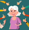 thumbs up old woman public approval a lot vector image