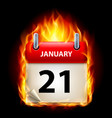 twenty-first january in calendar burning icon on vector image vector image