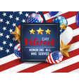 veterans day greeting navy blue vector image vector image