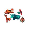 wild african animals set tiger antelope hippo vector image