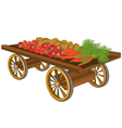 Wooden cart with vegetables vector image vector image