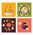 Colored fresh healthy food flat design with fruits vector image