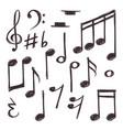 hand drawn music note musical symbols vector image