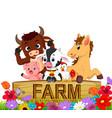 collection farm animals in the garden vector image