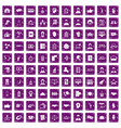 100 coherence icons set grunge purple vector image vector image