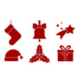 6 christmas icons vector image vector image