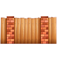 A fence made of wood and bricks vector image
