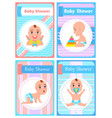 bashower happy childhood kid on poster set vector image vector image