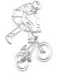 bmx stunt cyclist line art vector image vector image