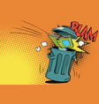 book thrown in the trash vector image vector image
