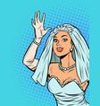 bride joyfully welcomes happiness on the vector image