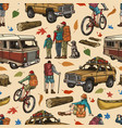 camping colorful vintage seamless pattern vector image