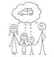 cartoon family couple man and woman and two vector image