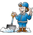 cartoon of a happy handyman worker with his snow vector image vector image