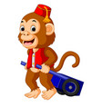 Circus monkey carrying cart