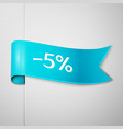 cyan ribbon with text five percent for discount vector image vector image