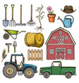 farming sketch icons vector image vector image