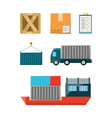 flat set icon logistic shipping vector image vector image