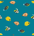 four saltwater fishes seamless pattern vector image