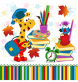 giraffe bird school supplies vector image vector image