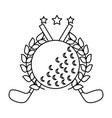 golf clubs cross and ball with laurel stars vector image vector image