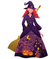 halloween witch on white vector image vector image