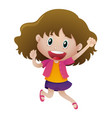 happy girl jumping up vector image