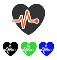 heart pulse flat icon vector image vector image