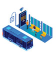 isometric online bus booking artwork vector image