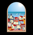 landscape with sea colorful houses and yachts vector image