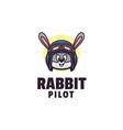 logo rabbit pilot mascot style vector image