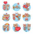 loving cartoon bears flat icons set vector image vector image