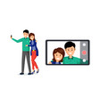married couple taking selfie vector image vector image