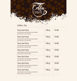 menu price list with cup of coffee and grains vector image vector image