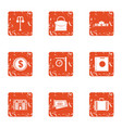 money building icons set grunge style vector image vector image