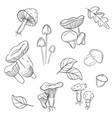 monochrome mushrooms stickers modern black vector image vector image