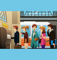 people buying train ticket vector image
