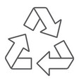 recycle thin line icon ecology and protection vector image vector image