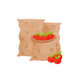 red apples in a canvas bag vector image vector image