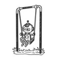 robot child play on swing sketch engraving vector image vector image
