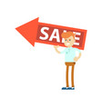 seller man with big sale sign vector image