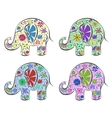 Set of elephants painted by flowers vector image vector image