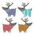 Set of four cute reindeers in amusing knitted vector image vector image