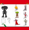 shadows game with cartoon fantasy characters vector image vector image